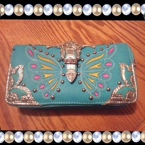 Handbags - Western zippered wallet, wristlet, turquoise